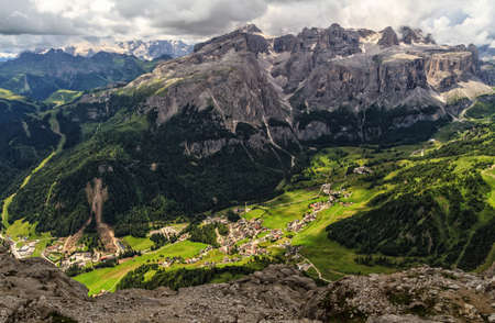 high Badia Valley, -Colfosco village aerial view from Mt Sassongher, Alto Adige, Italy