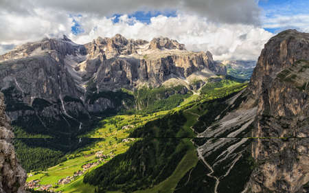 high Badia Valley with Colfosco village and Sella mount, Alto Adige, Italy Stock Photo