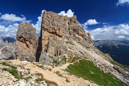 Dolomiti - Torre Finestra in Catinaccio group on summer, Trentino, Italy