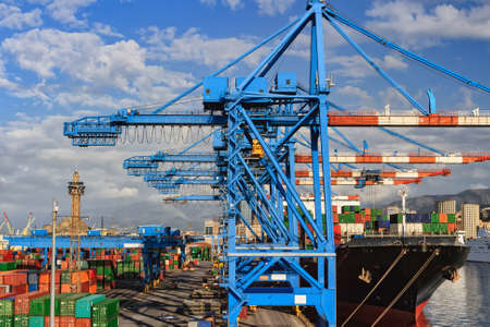 Shipping and container terminal in the port of Genoa , Italy Archivio Fotografico