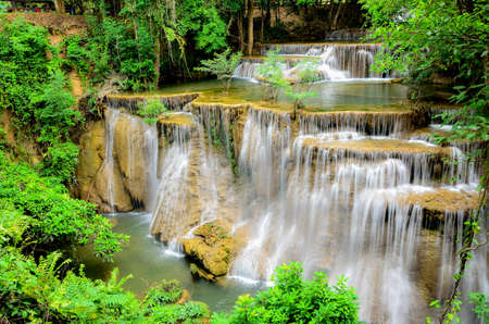 khamin: Huay Mae Khamin waterfall in tropical forest of national park, Thailand Stock Photo