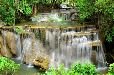 Huay Mae Khamin waterfall in tropical forest of national park, Thailand Stock Photo
