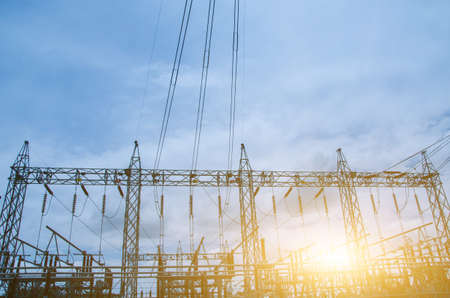 Electrical substation on a blue sky background Stock Photo