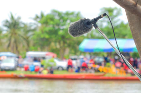 Outdoor microphone in sporting event 版權商用圖片