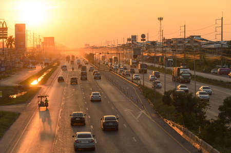 Bangkok Thailand - November 25 : Cars on the traffic at evening at Rama II road on November 25, 2018 in Bangkok, Thailand.