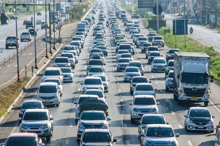 Samut Sakhon Thailand - April 2019 : Cars stands in traffic jam at afternoon at Rama II road on April 16, 2019 in Samut Sakhon, Thailand. Editorial