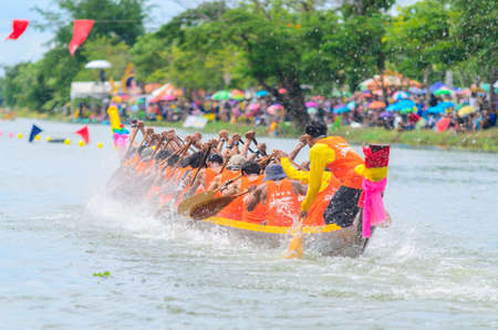 Samut Sakhon,Thailand- August 2019 : Unidentified crew in the annual long boat race of Samut Sakhon province on August 25,2019 at Samut Sakhon Thailand.