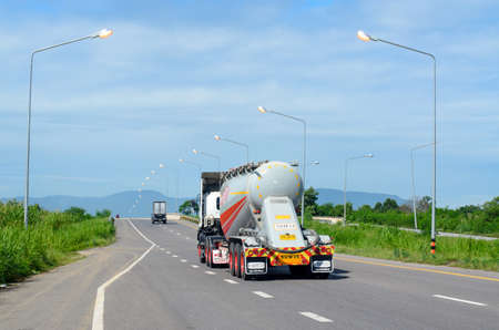 Nakhon Sawan, Thailand - September 2019 : Truck container running on the highway for service to customer on time, on September 7,2019 at Nakhon Sawan, Thailand