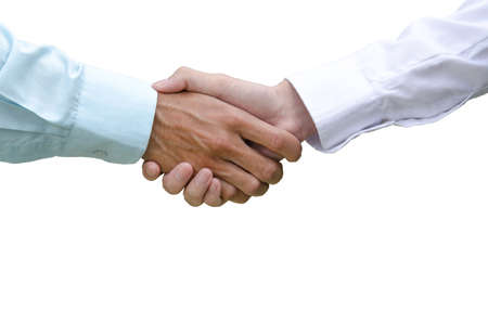 Handshake of businessman agreed with the success of the new project, Handshake of businessman Isolated on white background Banco de Imagens