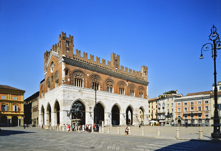 Italy, Piacenza Piazza Cavalli, Gothic palace, equestrian monuments Editorial