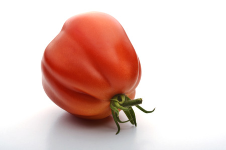 beefsteak: One Beefsteak Tomato on white board Stock Photo