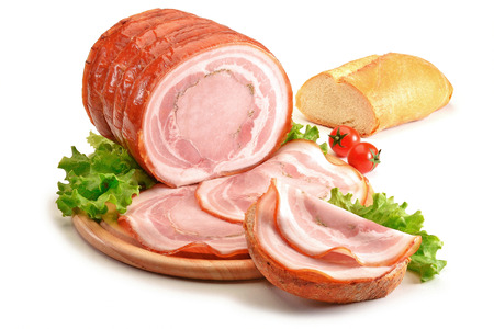 roast meat: Cutting board with roast pork and bread on white plane