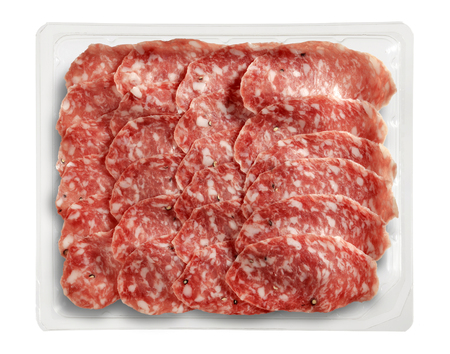 salame: Transparent Tray of Presliced Salame Parma Top View Stock Photo