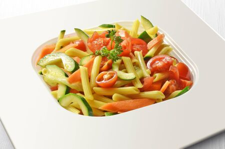 pasta salad: Penne pasta Salad with tomatoes and Zucchini