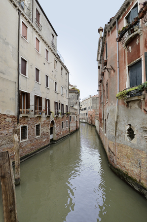 canal house: Detail of Venice Corner with Canal and House