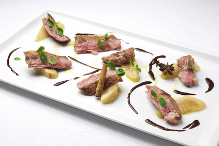 main course: Main course Spanish pork with pears and chocolate