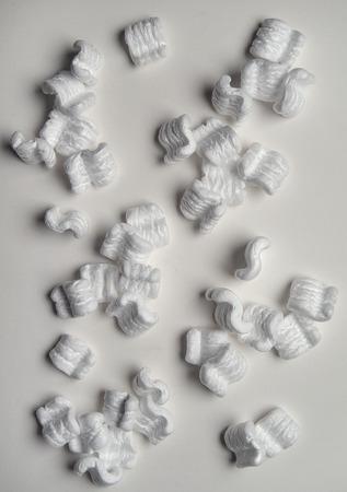 polystyrene: White Polystyrene Packing Chips isolated on White