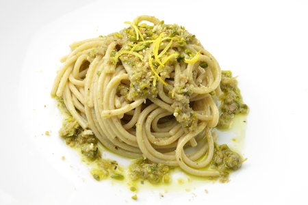 fish sauce: Pasta Dish Spaghetti with anchovies and lemon pistachios