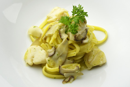 egg noodles: Egg Noodles with scallops and porcini mushrooms