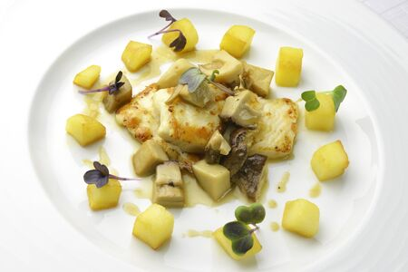 Dish Fish Fillet of turbot with mushrooms and potatoes