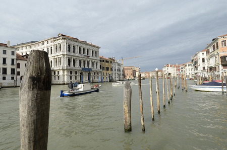 canal house: Detail of Venice Gran Canal and House Stock Photo