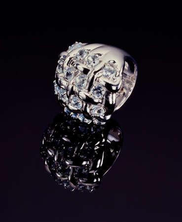 platinum: Platinum Ring with Diamonds on Black background
