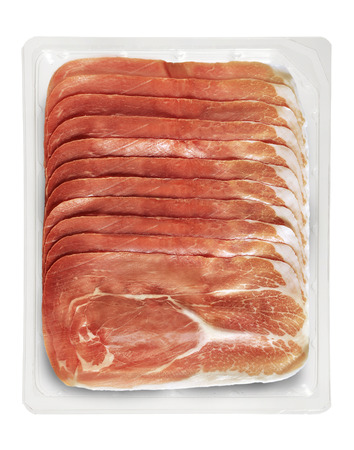 Transparent Tray of Presliced Ham Top View