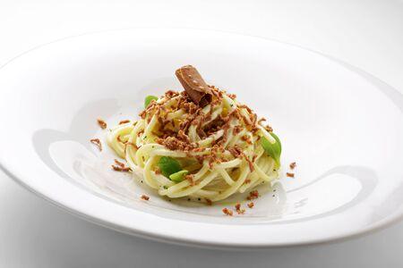 Pasta dish Spaghetti sour cream and roe