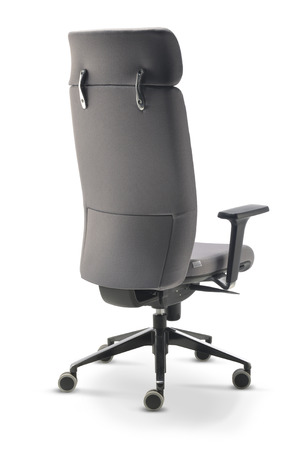 headrest: Executive Office Chair gray fabric back view isolated on white