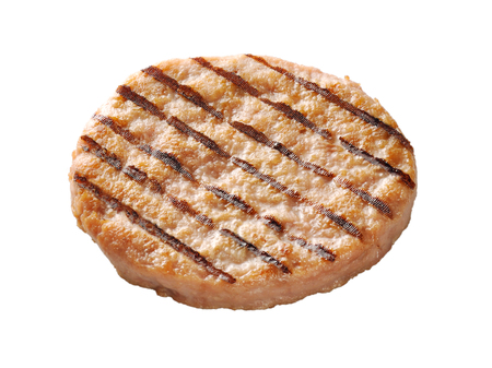 single grilled Chicken burger isolated on white