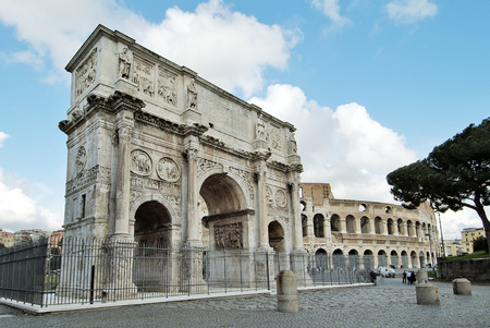 Rome monument Arch of Constantine and colosseum