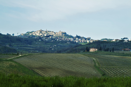 siena: Tuscan landscape Siena hills with cloudy sky Stock Photo