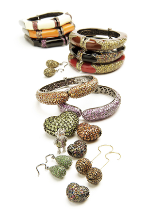 silver jewelry: Silver jewelry with colored stones on white Stock Photo
