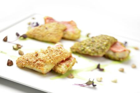 mullet: Dish fish Fillets of red mullet in hazelnut crust peanuts and pistachios