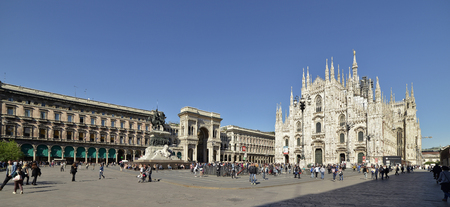 Cathedral Square Milan with tourists in spring