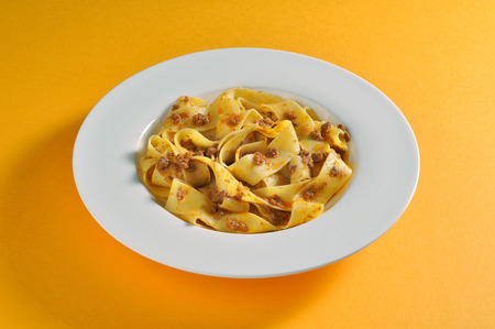 bolognese sauce: Dish with portion of fettuccine with Bolognese sauce