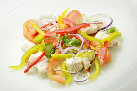 redfish: Dish with Catalan white fish - redfish and sliced raw vegetables Stock Photo