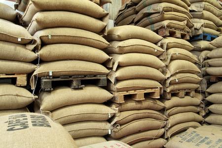 Sacchi della juta pieni di caffè in magazzino Archivio Fotografico - 63352255