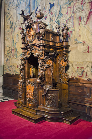 Bergamo, Italy - August 4, 2016: Fantoni wooden confessional in Basilica Editorial