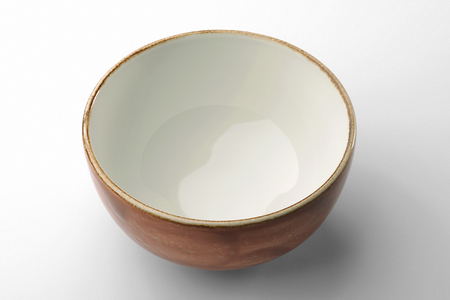 Ocher hand-crafted chinese bowl isolated on white background Reklamní fotografie - 67530270