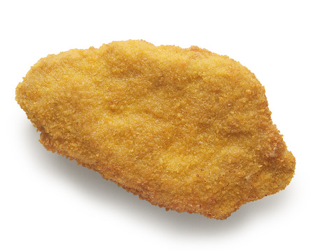 Single Chicken cutlet breaded isolated on white background