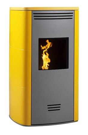 Yellow pellet stove with fire isolated on white 写真素材