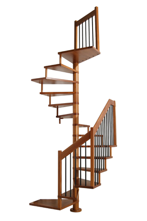 spiral staircase: Wooden Spiral staircase isolated on white