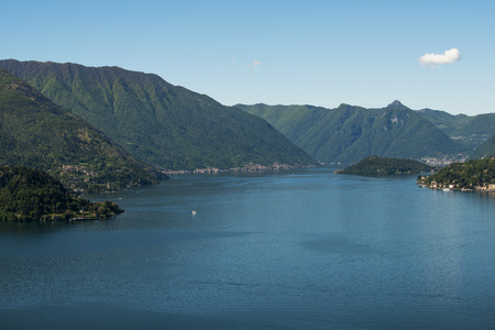 Panoramic view of the lake of Como_ promontory of Bellagio and peninsula of Lavedo from Vezio castle