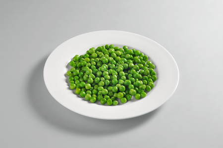 Round dish with portion of boiled peas isolated on grey background