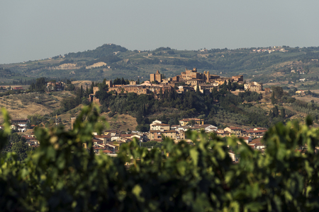 Tuscany village of Certaldo high at sunset in summer Stok Fotoğraf