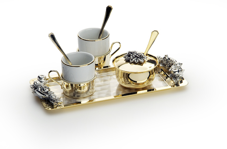 chrome: elegant coffee set with sugar bowl cups and tray Stock Photo