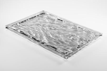 Rectangular transparent plexiglass tray isolated on white background