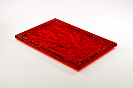 rectangular red plexiglass tray isolated on white background Reklamní fotografie - 88706490