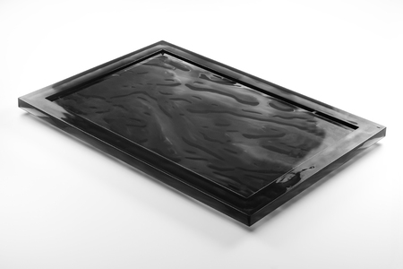 rectangular black plexiglass tray isolated on white background Reklamní fotografie